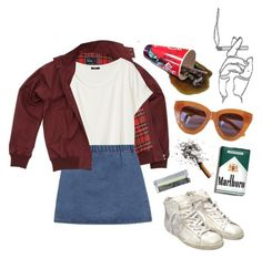 """""""waiting"""" by junk-food ❤ liked on Polyvore featuring Fred Perry, H&M, Golden Goose, Zimmermann, KEEP ME and Karen Walker"""