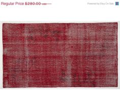 ON SALE 6,6x3,7 ft    200X112 cm  Vintage Red handmade faded-distressed overdyed rug Free shipping (3034)