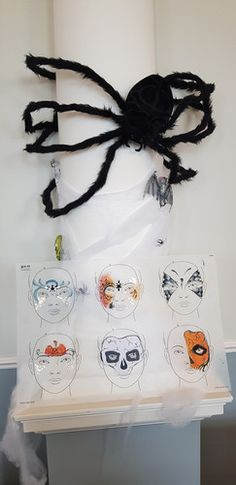 Halloween face painting board, sally ann lynch, spider, pumpkin, skull, butterfly, web, dark crown, Spider Pumpkin, Sally Ann, Festival Looks, Lynch, Halloween Face, Skull, Sparkle, Butterfly, Glitter