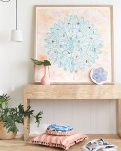 Inflorescence Denim Cushion by Lumiere Art & Co.