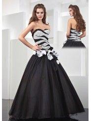 Tulle Modified Sweetheart Ruffled Flower Bodice Long Prom Dress