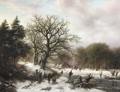 Barend Cornelis Koekkoek (Dutch, 1803-1862)A winter landscape with wood gatherers and skaters signed and dated 'B.C. Koekkoek.ft:1850
