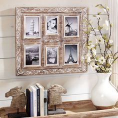 Whether you want to feature family members or note memories of important events, a fun vacation, our collage frame turns your photos into a piece of art. Generously sized, handcrafted and given a distressed finish, it beautifully displays six photos.