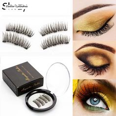 Shozy Magnetic eyelashes with 3 magnets handmade magnetic lashes natural fals Shimmer Eye Makeup, Neon Eyeshadow, Eyeshadow Makeup, Pink Makeup, Eyebrow Makeup, Makeup Brushes, Natural False Eyelashes, Fake Lashes, Flase Eyelashes