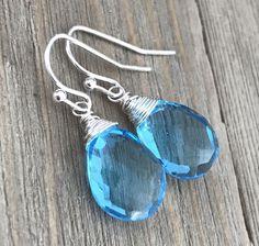 Min Favorit Swiss Blue Hydroquartz Briolette & Silver Pl Artisan Wrap Earrings #minfavorit #DropDangle
