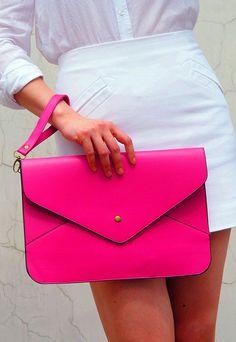 Oversize Vegan Leather Envelope Clutch - Rose Pink Purse Bag Handbag - Women Ladies - Handmade