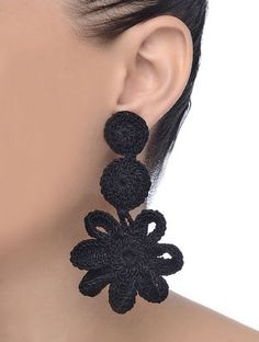 Daffodil Black Thread Earrings with Crochet Work