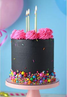 Bright Birthday Cakes, 16th Birthday Cake For Girls, Creative Birthday Cakes, 14th Birthday, Neon Cakes, Rainbow Cakes, Simpsons Cake, Bithday Cake, Hallowen Food