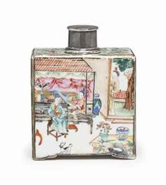 A LARGE CHINESE EXPORT FAMILLE ROSE TEA CADDY CIRCA 1735-40 // Interior scenes on all sides, the shoulders with tree shrews in foliage, later silver cover 6 in. (15.2 cm.) high // Price realized $5,000 // // - Maria Elena Garcia - ► www.pinterest.com/megardel/ ◀︎