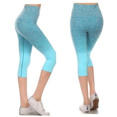 Periwinkle Ombre Workout Capri Legging Size S M L Periwinkle Ombre fade workout Capri legging, high waist that can be folded down, 63% Nylon 29% Polyester 8% Spandex.  Available is size Small, Medium, or Large.  Restock arriving Friday/Shipping Saturday!  No Trades, Price Firm unless Bundled.  BUNDLE 3 OR MORE ITEMS FOR 15 % OFF. Boutique Pants Leggings