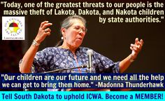 Please join us in finding the solution for Lakota foster children by creating foster care that is run by Lakota, for Lakota and become a MEMBER: http://lakotalaw.org/donate-new  We are honored to have Madonna Thunderhawk as our tribal liaison. Her strength and impact are both enduring and insightful. Please click through to the article Madonna wrote for the Daily Kos in response to National Geographic's article that reflected on the events of Wounded Knee…