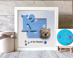 New Baby Boy Gift, Personalised Bear Box Frame, Personalised Gift, New Baby Gift, Christening Gift, Keepsake, Nursery Decor, Teddy Bear Gift