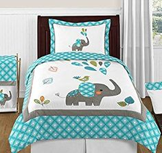 Turquoise Blue Gray and White Mod Elephant Twin Bed Bedding Girl - Favorave