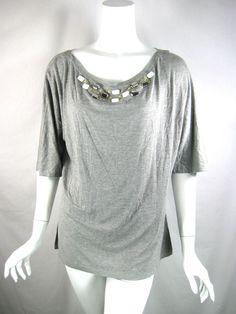 ST. JOHN NWT Grey Melange Beaded Short Sleeve Blouse Size XL $195 #STJOHN #Blouse