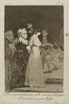 Francisco de Goya - El sí pronuncian y la mano alargan al primero que llega, 1799. Los Caprichos no. 2.