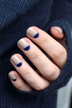 Gorgeous neutral and navy half moon manicure