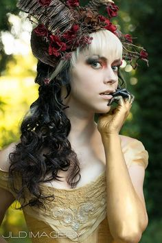 For hairpiece flower/plant colors, not the horns :) | Beast & Bramble Ram Horn Headdress by idolatre on Etsy