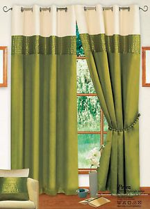 Stylish 2 Tone Ring Top Eyelet Lined Curtain Faux Silk Colour Lime Green U0026  Cream