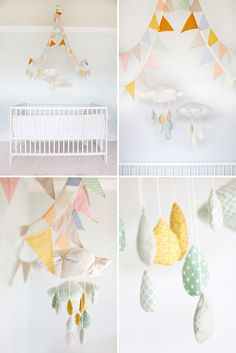 Simply Bloom Nursery – love this! (How to hang pennants above crib)