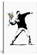 For the Street Art Banksy Fan: Banksy Print - Rage Flower Thrower x Banksy Canvas Prints, Framed Art Prints, Painting Prints, Graffiti, Banksy Art, Rage, Collages, Box Art, Graphic Art