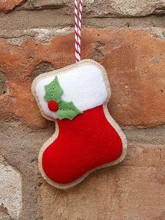 Handmade Felt Christmas stocking ornament by TillysHangout on Etsy Felt Christmas Stockings, Felt Christmas Decorations, Christmas Ornament Crafts, Christmas Sewing, Noel Christmas, Felt Ornaments, Felt Crafts, Handmade Christmas, Christmas Crafts