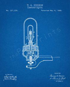 Edison Printable | Thomas Edison Light Bulb | Edison Art | Edison Print | Edison Poster | Patent | Patent Print | Light Bulb | Edison Lamp by ThePastPrints on Etsy