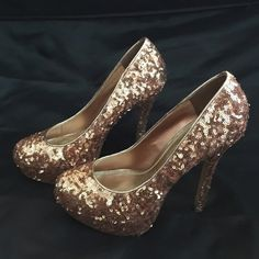 Rose Gold High Heal Stiletto Rose gold sequin stiletto heel from Bakers. Size 7M. Worn once. Bakers Shoes
