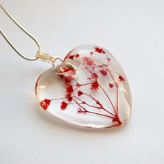 Real Flower Necklace Love Heart Red Mother's Day Gift by NaturalPrettyThings on Etsy