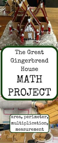 Teachers and homeschoolers, this project is an amazing way to close out one calendar year or open a new year. Designing and building gingerbread houses creates an atmosphere of motivated engagement. The students feel the authenticity of the math challenges, and they're excited to see their designs come to life. Students will make floor plans, calculate area and perimeter, and draw front and side view silhouettes. Then they build! Click this pin for more information and pics!