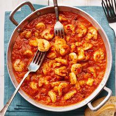 Garnalen in tomatensaus. Hoofdgerecht, 4 personen