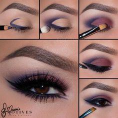 Blue purple eyeliner eye-shadow smokey