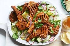 When a recipe calls for you to ditch your cutlery and use your hands, you know it's going to be good. And these Tandoori lamb cutlets with cucumber salad don't disappoint! Aussie Food, Australian Food, Tandoori Lamb, Tandoori Chicken, Tandoori Marinade, Lamb Chops, Cucumber Salad, Clean Eating, Meals