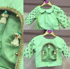 New year brings us new fashion trends & styles to anticipate, including new blouse designs! Here are the latest blouse designs for 2020 you should check out! Blouse Back Neck Designs, Fancy Blouse Designs, Choli Designs, Indian Style, Vanz, Stylish Blouse Design, Bollywood, Online Shopping, Blouse Models