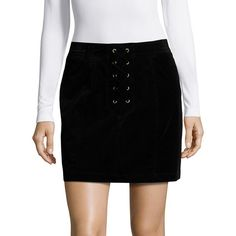 Design Lab Lord & Taylor Corduroy Lace Up Mini Skirt ($68) ❤ liked on Polyvore featuring skirts, mini skirts, black, short skirts, mini skirt, long skirts, short long skirts and long corduroy skirt