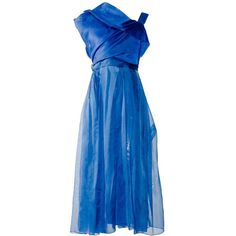Preowned 1950s Lanvin- Castillo Haute Couture Blue Silk Organza... (€5.185) ❤ liked on Polyvore featuring dresses, blue, vintage, aesthetic evening dresses, pre owned dresses, vintage cocktail dresses, blue dress, vintage dresses and preowned dresses