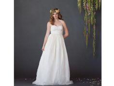 Love this floral crown! | Fair Trade Zig Zag Wedding Dress | Green Bride Guide