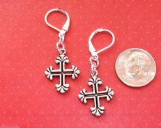 CROSS Charm Silver Plated LEVER BACK Earrings OPTIONS: short or long #BusyBeeBumbleBeads #DropDangle