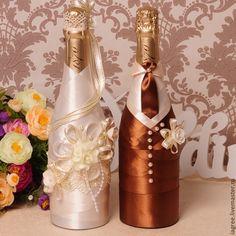 """Купить Декор свадебного шампанского из коллекции """"Шоколад"""" - коричневый, украшения для шампанского, декор шампанского"""