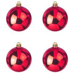 Europalms X-Mas 83501260 Dekokugel 10 cm 4x, rot  Dekokugel für anspruchsvolle Innen- und Außendekoration ¨Als Garten- und Weihnachtsdeko geeignet