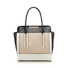 Lipsy Black colour block gold plated winged tote bag | Debenhams