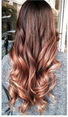 Brown hair with copper ombre highlights