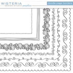 Doodle Page Borders - 12 x 12 - Clip Art for Personal & Commercial Use - Digital Designs. $6.00, via Etsy.