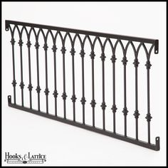 Delight in classic faux balcony design with the Ornamental Arch Balconet. Highlights of this style include: A frame of flat bar railings Joined arch tops beneath the top rail Decorative baluster knuckles Each false balcony railing is manufactured Iron Balcony, Iron Stair Railing, Staircase Design, Balcony Grill Design, Wrought Iron Stairs, Porch Railing, Balcony Grill, Balcony Design, Balcony Railing Design