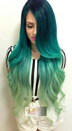 Green ombre dip dyed hair: