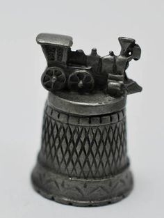 Vintage Coal Train Engine Pewter Thimble Figural Railroad Collectible | eBay
