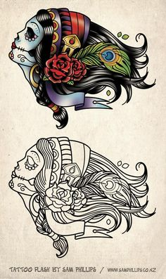 I want a sugar skull and this one has a peacock feather!