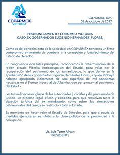 PRONUNCIAMIENTO COPARMEX VICTORIA EX GOBERNADOR EUGENIO HERNANDEZ FLORES