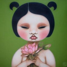 green - child with lotues flowers - painting - Poh Ling Yeow Indigenous Australian Art, Australian Artists, Johann Wolfgang Von Goethe, Art Rules, Pop Surrealism, Heart Art, Cool Art, Awesome Art, Face Art