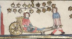 Wounded man carried on a wheel barrow. 1338-44 Romance of Alexander