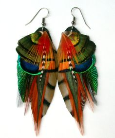 Earthy Feather Earrings- All Natural Colors. $34.00, via Etsy.